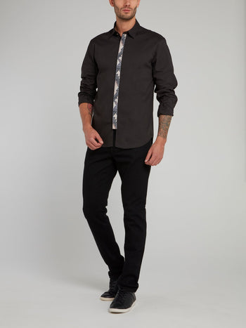Black Snake Skin Panel Long Sleeve Shirt