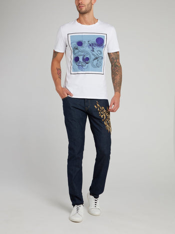 White Geometric Octopus Print T-Shirt