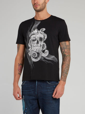 Black Octoskull Print T-Shirt