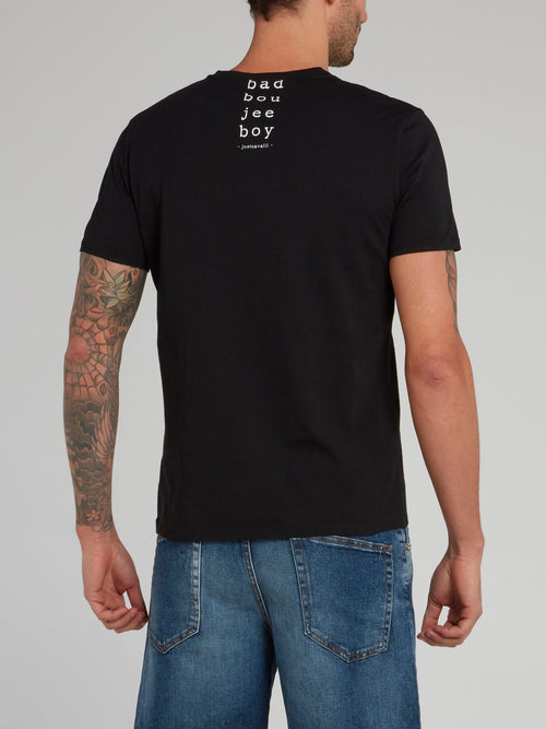Black Statement Graphic Print T-Shirt