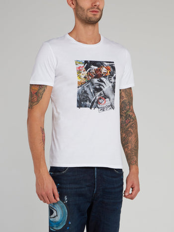 White Collage Print Cotton T-Shirt