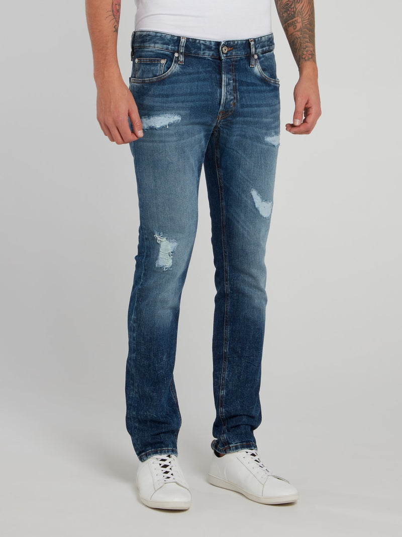 Blue Distressed Slim Fit Denim Jeans