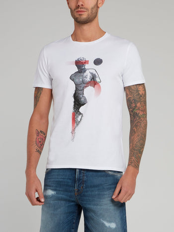 White Sculpture Print Cotton T-Shirt
