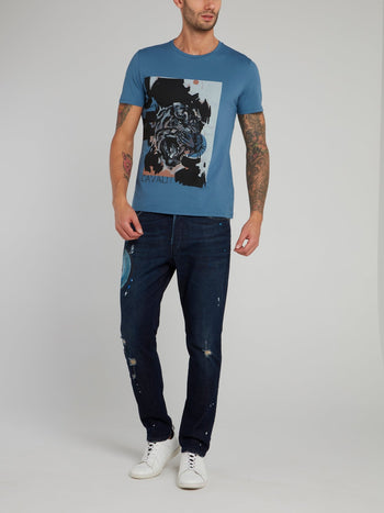 Blue Tiger Print Cotton T-Shirt