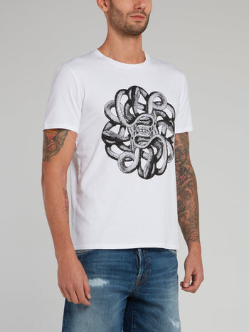 White Snake Print Cotton T-Shirt