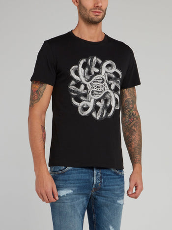 Black Snake Print Cotton T-Shirt
