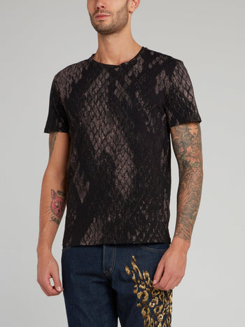 Black Snake Effect Cotton T-Shirt