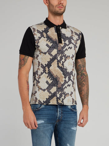 Snake Effect Cotton Polo Shirt