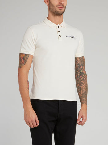 Beige Leopard Logo Cotton Polo Shirt