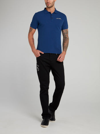 Blue Leopard Logo Cotton Polo Shirt