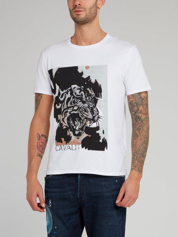 White Tiger Print Cotton T-Shirt