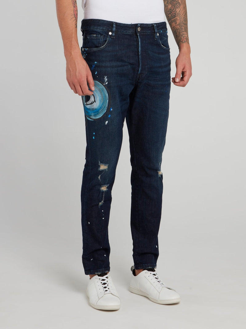 Snake Paint Distressed Denim Jeans