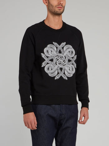 Black Snake Print Cotton Sweatshirt