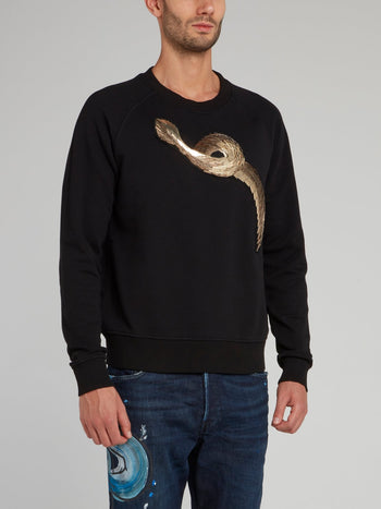 Black Snake Effect Embellished Sweatshirt