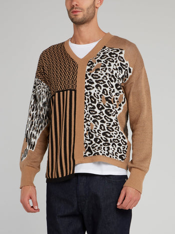 Brown Leopard and Stripes Panel Pullover