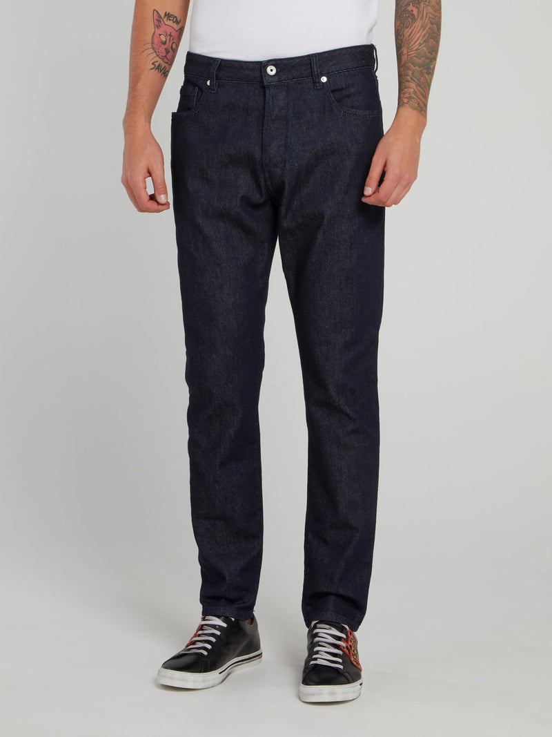 Contrast Pocket Dark Wash Jeans