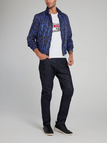 Blue Leopard Print Jacquard Zip Up Jacket