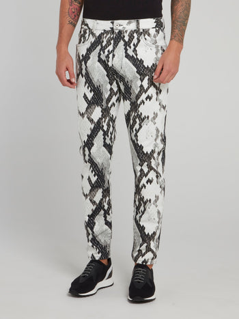Snake Effect Slim Fit Trousers