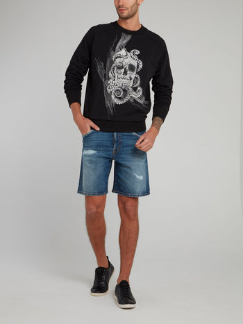 Black Octoskull Print Sweatshirt