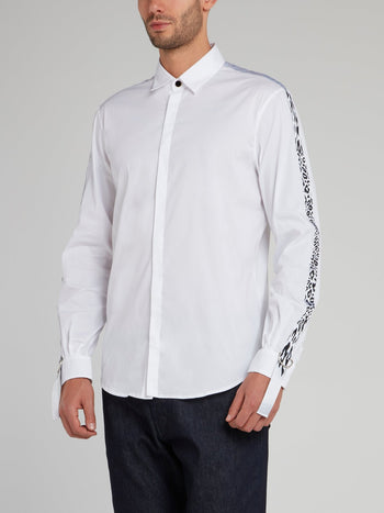 White Leopard Side Stripe Long Sleeve Shirt