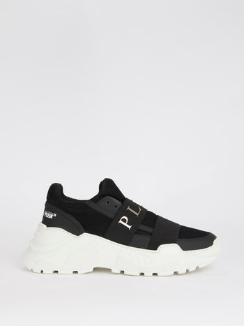 Black Front Strap Mesh Leather Sneakers
