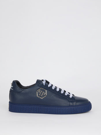 Navy Logo Lace Up Leather Sneakers