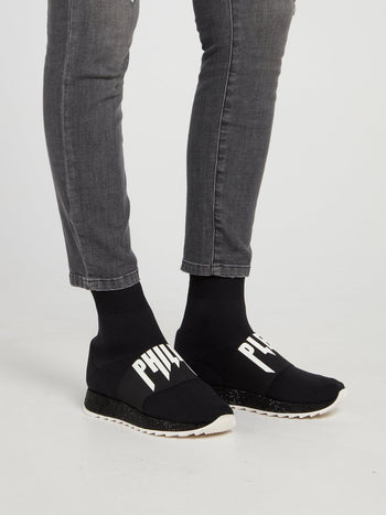 Black High Top Logo Sock Sneakers