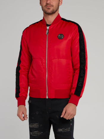 Red Sleeve Stripe Logo Bomber Jacket