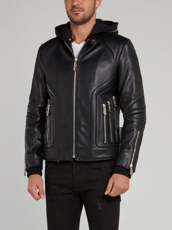 Zipper Embellished Hooded Moto Jacket
