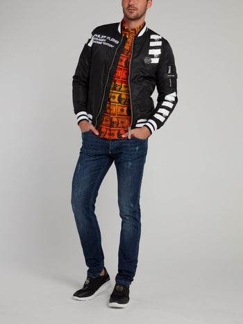 Black Stripe Edge Skull Print Bomber Jacket