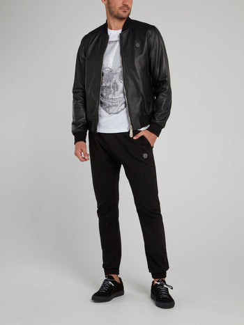 Snake Skull Leather Bomber Jacket