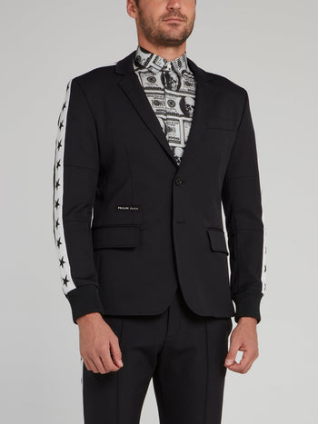 Black Side Stripe Stars Blazer