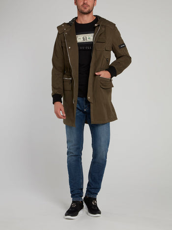Olive Belted Hooded Parka