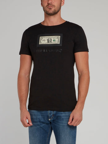 Black Dollar Print Crewneck T-Shirt