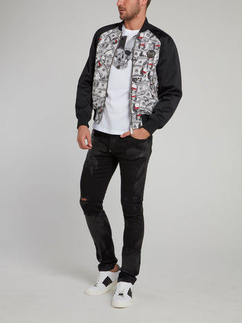 Black Panel Dollar Skull Print Bomber Jacket