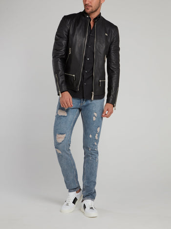 Black Clasp Neck Leather Moto Jacket