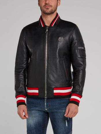 Stripe Edge Skull Leather Bomber Jacket