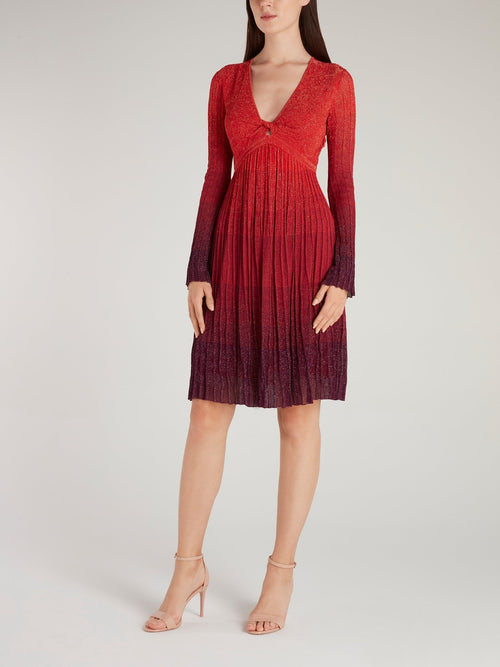 Red Pleated Glitter Dress