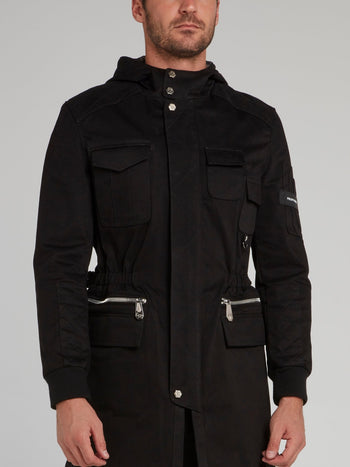 Black Belted Hooded Parka