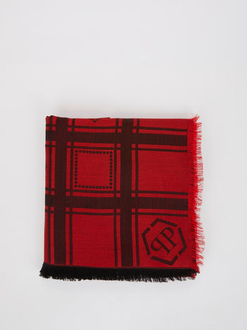 Red Checkered Frayed Scarf