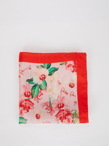 Red Floral Print Silk Scarf