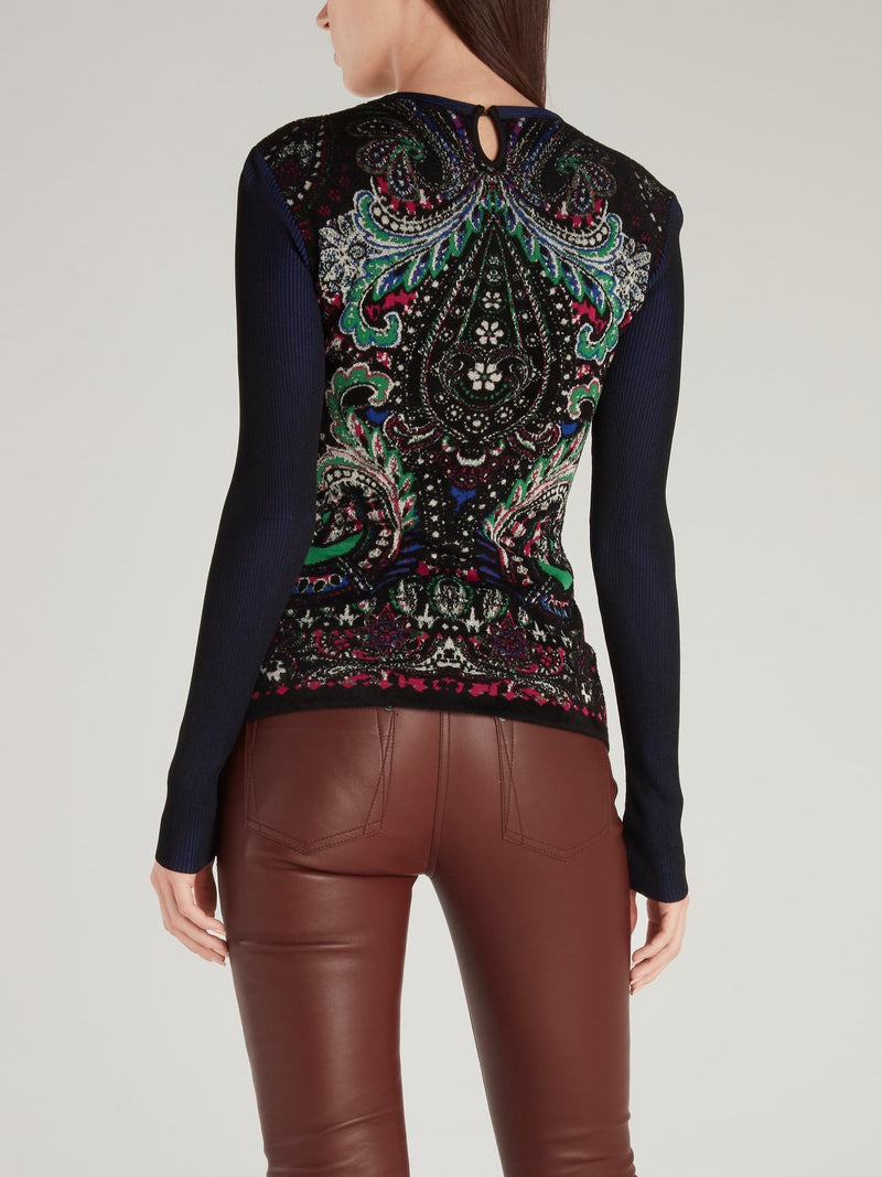 Baroque Print Cut Out Sweater