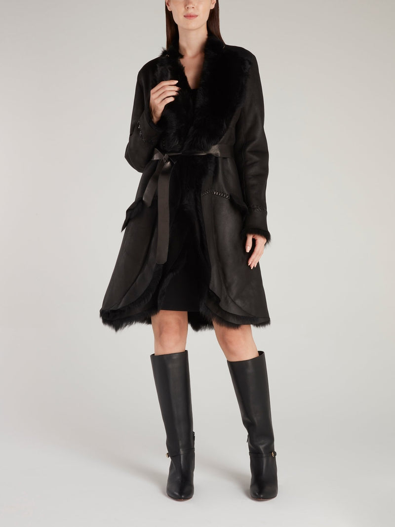 Black Fur Panel Leather Coat