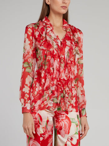 Red Floral Cascade Ruffle Blouse