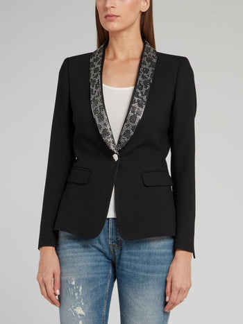 Black Leopard Effect Studded Collar Blazer