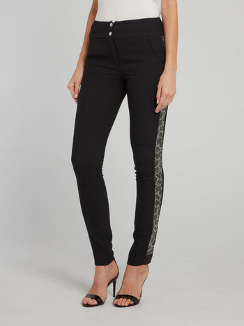 Black Studded Leopard Effect Side Stripe Pants