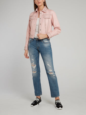 Pink Crystal Studded Leather Jacket