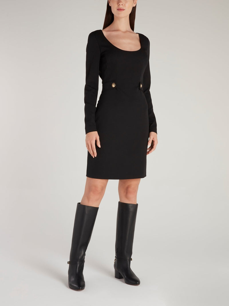 Black Scoop Neck Mini Dress