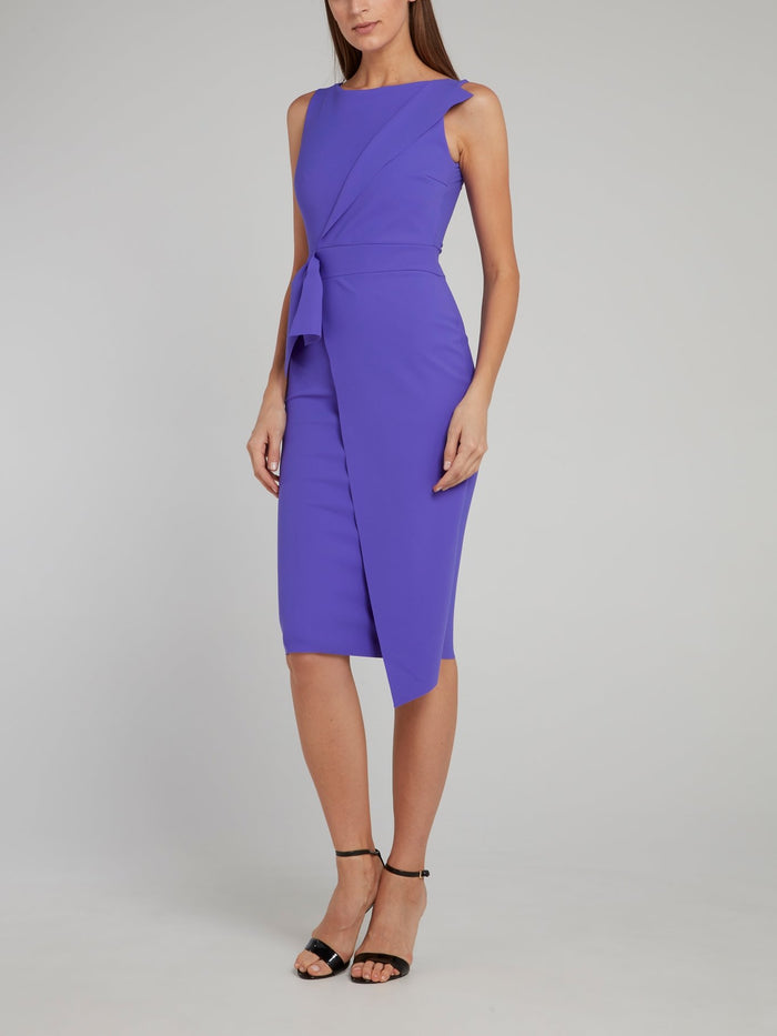 Gurli Purple Asymmetric Midi Dress