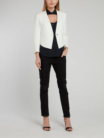 White Collarless Cropped Blazer